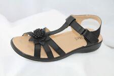 Softlites noir bas caoutchouc WEDGE T Bar Confort Sandales Chaussures Taille 9