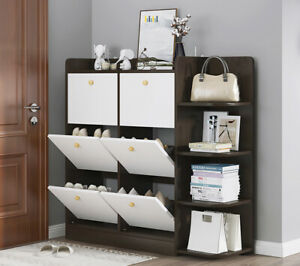 6 Drawer Shoe Cabinet Storage Cupboard Footwear Stand Rack Wooden Unit New White