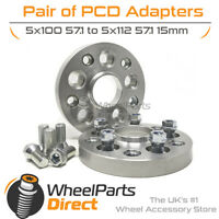 PCD Adapters (2) 5x100 57.1 to 5x112 57.1 15mm for VW Bora 99-08