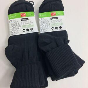 No Nonsense Womens Socks Turn Cuff Black Sz 4-10 Right Foot Forward Lot Of 2 New