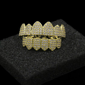 New 14K Gold Plated High Quality Big CZ Top & Bottom GRILLZ Mouth Teeth