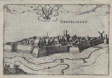 Fortified French City Plan - GREVELINGEN - by Tassin - Copper Engraving. - 1636