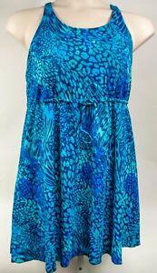 Minxueer Plus Size Women Multi Blue Animal Print Swimsuit Swimskirt Size 20W