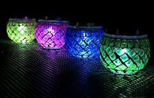 2x LED Solar Power Garden Mosaic Jar Lights Glass Globe Table Lantern Outdoor