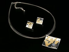 square golden print shell pendant collar necklace stud earrings set jewelry K39