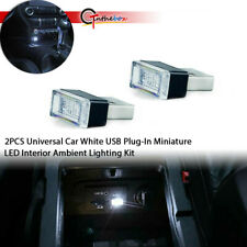 2Pc Hid White Plug-In Ambient Miniature Led For Car Interior Lighting Kit 5V Usb(Fits: Neon)