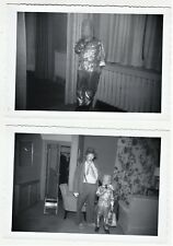 2 Snapshot Photos 1952 Boy Halloween Costume Robot Rocket Space man Commando