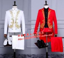 Men's Gold Embroidery Tuxedo Suit Evening Performance Dress Formal Coat Pants Ch