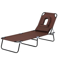 Outsunny Reclining Brown Garden Relaxation Sun Lounger Chair - Camping, Beach