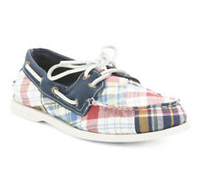 Sperry Top-Sider 2 Eye Preppy Canvas Plaid Casual Boat Shoes Men's Size 10