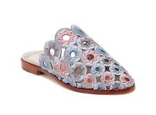Ashley Cole Mia Silver Multi Embroidered Star Flat Mule Slip-On Sandal