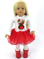 "Christmas Reindeer 3pc Skirt Pants Outfit Fits 18"" American Girl Doll Clothes"