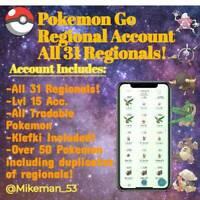 Pokemon Go Regional Acc - All Regionals Included! Duplicates! Klefki Included