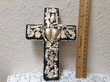 """7"""" x 5"""" x 1 1/2"""" Wood Black Cross, Brass Milagros, Natural Silver Color."""