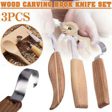 US 3 IN 1 Carving Woodcarving Tool Kit Hook Spoon Cutter Whittling Beaver Craft