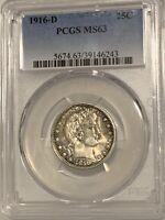 1916-D Barber Quarter Dollar 25C MS 63 PCGS