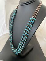 """Stunning Native Am NAVAJO Sterling Silver Kingman TURQUOISE 3S Necklace 24"""" 1161"""