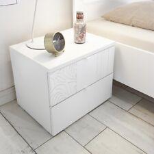 Comodino con due cassetti XAOS bianco con serigrafia camera letto
