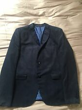 Mens Navy Blue Faux Suede Blazer Size 42 Used