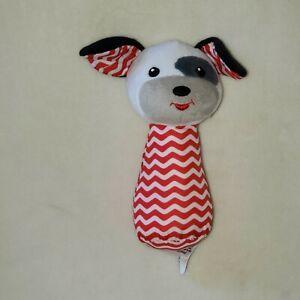 "Spark Imagine Create Red White Chevron Puppy Dog Hand Rattle Plush Toy 6"""
