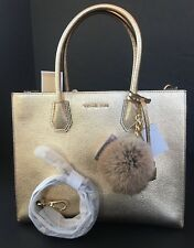Michael Kors Gold Mercer Large Leather Tote & Rabbit Key Charm NWT Retail $356