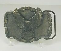 Vintage 1984 Official Harley Davidson Eagle and Badge Logo Belt Buckle Brass