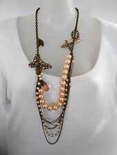 Bronze butterfles and Peach Pearls Necklace - Diva 14