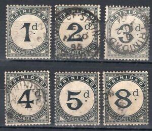 TRINIDAD 1885 POSTAGE DUE STAMP Sc. J 2/6 AND J 8 USED