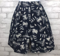 Lauren Ralph Lauren High Waisted Pleated Shorts Navy With Boats Cotton Size 8