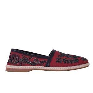 DOLCE & GABBANA Embroidered Canvas Espadrilles Shoes MONDELLO Red Black 06240