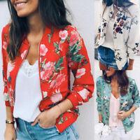 Womens Office Ladies Retro Floral Print Zipper Up Coat Bomber Jacket Casual Coat
