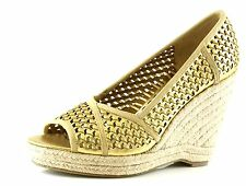 Juicy Couture Kinder Gold Woven Distressed Leather Wedge Sandals 7025 Size 9 M