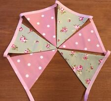 Clarke and Clarke Sage Green Rosebud Floral Pink Spotty Bunting Shabby Chic 1m