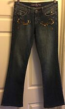 Womens SZ 26 (30x31.5) Celebrity Pink Embellished Bootcut Lowrise Blue Jeans EUC