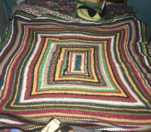 Vintage Cosy Stripy Knitted Crocheted Wool Blanket / Throw Double Size Autumnal