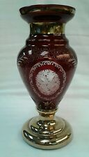 """Bohemian Czech Glass Crystal Etched Ruby Red Vase Floral Swirls Gold 8"""" Tall"""
