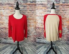J. Crew Red Beige Crewneck Wool Blend ELBOW PATCHES Pullover Tunic Sweater Sz M