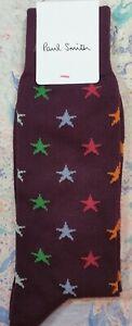 Paul Smith Mens Italian Socks Star in Stripes Maroon Red K138 One Size CottonMix