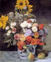 Oil painting Pierre Auguste Renoir -mixed flowers in an earthware pot still life