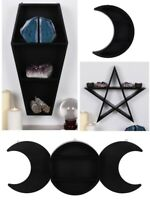 New Shelf Display Unit Witch Coffin Triple Moon Crescent Halloween Pentagram