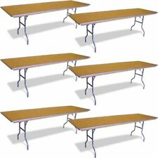 """6 Rectangle Dining Table 96"""" Event Wedding Party Heavy Duty Wood Folding Table"""