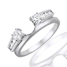 0.42 Ct Round Cut D/VVS1 10k Solid White Gold Three Stone Anniversary Ring Wrap