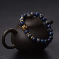 Men Spot Owl 8MM Beaded Natural Lava Stone Gold Silver Charm Fashion Bracelets
