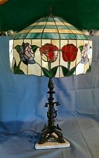 Bronze Finish L&L WMC Triple Dolphin Lamp w/ Garden of Roses Stained Glass Shade