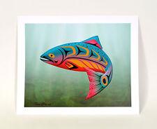 "New Signed Salmon Print Northwest Coast Native Art 13"" x 16"" Indigo HP Quality"