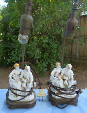 PAIR OF ANTIQUE GERMAN PORCELAIN FIGURAL LAMPS