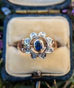 Victorian Inspired 9ct Rose Gold Sapphire & Diamonds Flower Ring