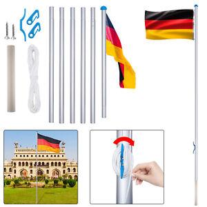 Fahnenmast Aluminium Fahnenmast 6,5m Flaggenmast Inkl. Deutschland Fahne Flagge