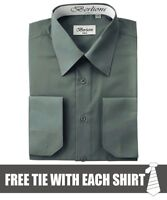 Berlioni Italy Men's Convertible Cuff Solid Dress Shirt Charcoal + FREE TIE