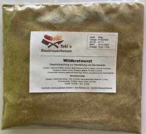 Wildbratwurst Gewürzmischung 100gr. Wurstherstellung -ohne Pökelsalz-